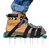 Kitclan 4 Riemen Rasenlüfter Schuhe, Rasenbelüfter Sandalen 5 cm Lange Bodennägeln für Haus und Garten (1 Paar ) Grün