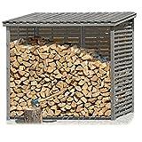 Gartenpirat Kaminholzregal XXL mit Rückwand für 3,8 m³ aus Holz Grau für Brennholz