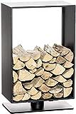 CLP Kaminholzständer Basil aus Edelstahl l Moderne Kaminholzablage ohne Rückwand | in verschiedenen Größen und Farben erhältlich, Farbe:schwarz-matt, Größe:80x50 cm