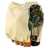 Telgoner Winterschutz für Pflanzen, Frostschutz Kübelpflanzensack Groß für kübelpflanzen mit Reißverschluss Zugband, Winter Pflanzenschutzsack Pflanzenabdeckung Frostschutz Vlies,120x180 cm, Beige