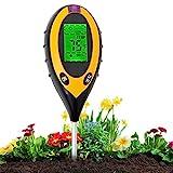 Aulande Bodentester Feuchtigkeitsmessgerät Pflanzen, 4-in-1 Bodentemperatur/Licht/pH-Wert/Feuchtigkeitsmesser Messgerät für Garten, Bauernhof, Rasen, Innen und Außen