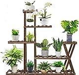 ybaymy 5 Ebenen Pflanzenregal Blumenständer, Innen Blumenregal Holz mit Handschuhen und Schaufeln, Blumenleiter Holz für Haus Garten Balkon Terrasse Flur Blumenständer, 95x95x25cm