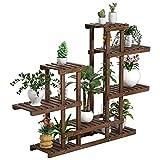 Yaheetech Pflanzenregal Holz, Blumenregal 6 Ebenen, Blumentreppe Garten, Pflanzentreppe Outdoor, Blumenständer mehrstöckig, Holzregal 120,5x25x96,5 cm