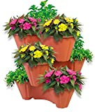 UPP Pflanzturm mit stapelbaren Pflanztöpfen | Vertikaler Garten mit 3 Etagen | Platzsparend für bis zu 9 Pflanzen & Kräuter
