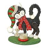 Unbekannt Kerzenhalter Katze & Maus stehend inkl. 1 Teelicht Teelichthalter Holzdeko Kerzenständer Weihnachtsdeko