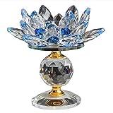 HNLHLY TeelichtgläserGlasblock Lotus Flower Metall Kerzenhalter Feng Shui Home Decor Große Teelichthalter Kerzenhalter-Blau