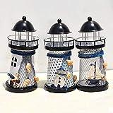 FANTEXI 14cm Leuchtturm Eisen Kerzenhalter Nautical Beach Anchor Dekoration Hochzeit Leuchtturm Kerzenhalter Holiday Decor Model-China