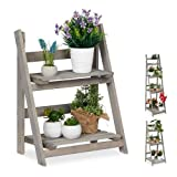 Relaxdays Blumentreppe, 2-stufig, Blumenleiter Holz, klappbar, Leiterregal für Pflanzen, HBT: 51,5 x 41 x 24 cm, grau