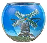 HIM Windmühle Teelichthalter, Mehrfarbig, 11 x 11 x 9 cm
