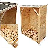 proheim Kaminholzregal XXL 162 x 128 x 72 cm mit Rückwand Brennholzregal mit 1,15m³ Volumen Kaminholzunterstand Bitumen beschichtetes Dach und 100% FSC Holz, Farbe:Natur