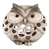 art decor Windlicht Eule, Keramik Eule, matt - braun/beige, Höhe ca.18cm