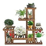 Ejoyous Blumenregal Blumentreppe Holz mit Pflanzenregal, 5-schichtiger Blumenständer aus hochwertiger Kiefernholz für Innen-Balkon Wohzimmer Outdoor Garten Dekor Blumenständer