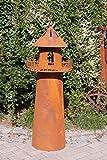 Rostalgie Edelrost Leuchtturm mit Brenntopf 135x45cm, inkl. Herz 8x6cm Gartendeko Laterne Fackel Feuertopf