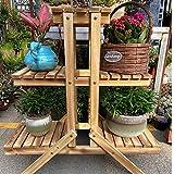 Simhoo Holz Blumenständer für innen Balkon Wohzimmer Outdoor Garten Deko,Blumentreppe 3 Ebenen Holzregal