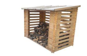 2 m/³ Holz in grau Gartenpirat Kaminholzregal mit R/ückwand f/ür ca